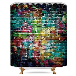 Wall Curtains UK - Riyidecor Colorful Brick Wall Shower Curtain Painting Watercolor Teal Hip Hop Decor Fabric Bathroom Set
