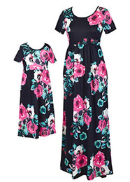 Match Dresses For Mom Daughter UK - Qin.Orianna Mommy and Me Maxi Dresses,Bohemia Floral Printed Matching Dresses for Daughter and Mom