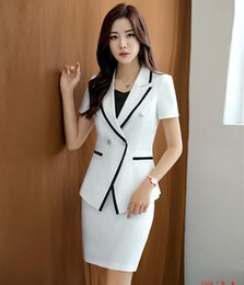 $enCountryForm.capitalKeyWord NZ - High Quality Ladies White Blazer Women Business Suits with Skirt and Jacket Sets Office Work Wear Clothes