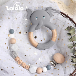 silicone nursing beads UK - Personalized Custom Pacifier Clip Chain Beech Beads Silicone Elephant Pendant Baby Teething Nursing Clips Chain Christmas Gift