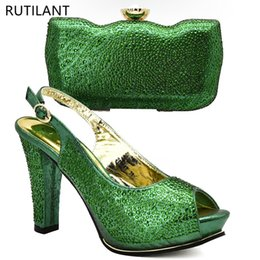 $enCountryForm.capitalKeyWord NZ - Green Color Italian Shoes and Bags To Match Shoes with Bag Set Decorated with Rhinestone Nigerian Women Wedding and Bag #9508