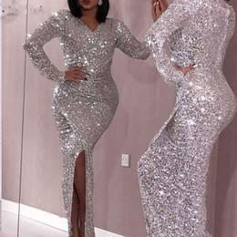 $enCountryForm.capitalKeyWord Australia - Sexy Mermaid Prom Dresses V Neck Long Sleeves Sequin Dress Sparkling Woman Formal Party Gown Abendkleider Custom Made