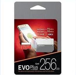 Vente en gros Dropship 1pcs Noir Rouge EVO Plus U3 16GB 32GB 64GB 128GB 256GB C10 TF Carte Mémoire Flash Classe 10 Adaptateur SD Libre Retail Blister