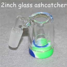 $enCountryForm.capitalKeyWord Australia - New Glass Ash Catcher with 5ml Silicone Container 14mm male joint for glass bongs dab rig water pipe glass ashcatcher with quartz bangers