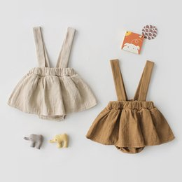 Infant Rompers Girls Australia - New Princess Baby Rompers with Suspender Skirt Toddler Jumpsuit Sleeveless Solid Infant Overall Onesie for Baby Girl Clothes