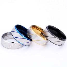 $enCountryForm.capitalKeyWord Australia - Titanium Stripe Twill Ring Simple Band Gold Blue Black Ring Finger Rings band Ring Cuffs Women Men Lovers Fashion Jewelry