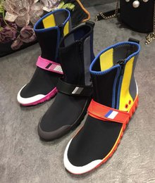 $enCountryForm.capitalKeyWord Australia - Hot Sale- Autumn Winter Leisure Flat Short Boots Fashion Sport Femal Stretch Boots Round Toes Mixed Colors Ankle Boots