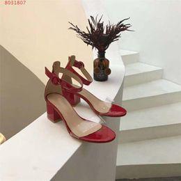 Strap Strip Australia - High-heeled sandals two slim translucent PVC strap sexy big Fashion strip Thick heel sandals Black red nude