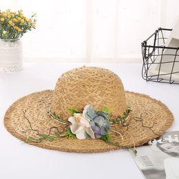 1c506912b2eb1 Summer Travel Vacation Sun Hats for Women Big Wide Brim Beach Hat Garland  Visor Ladies Straw Hat pamelas y sombreros
