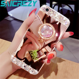 Case Huawei Lite Australia - For Huawei P8 Lite P9 P10 Plus P20 Mate 10 20 Pro Honor 9 Lite 7a Honor 6c 8x P Smart 2019 Phone Case Mirror Crystal Ring Cover