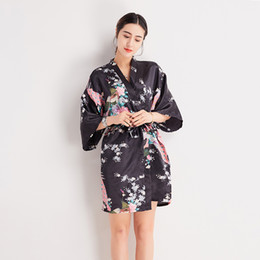 Chinese  Black Women Printed Peacock Robe Sleepwear Elegant Satin Rayon Mini Nightgown Nightdress Sexy Female Kimono Bathrobe Gown S-3XL manufacturers