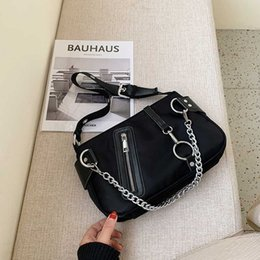 cooler handbags Australia - FANTASY New Chain Punk Black Nylon Handbags For Women Cool Trendy High Capacity Shoulder Bag Ring Design Travel Good Quality INS
