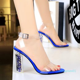 sexy glitter heel shoes Canada - size 35 to 42 43 glitter transparent PVC high heel clear shoes bridal wedding shoes sexy women designer sandals shoes 01co