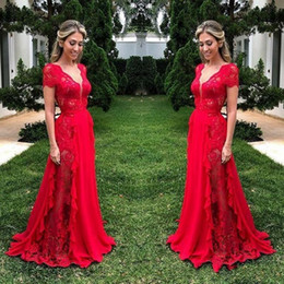 Short Red Lace Prom Vintage Dress Australia - Vintage Red Lace See Through Prom Dresses 2019 Deep V Neck Chiffon A Line Evening Gowns Floor Length Zipper Back Formal Party Dress Cheap