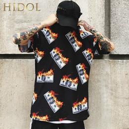 $enCountryForm.capitalKeyWord NZ - Oversize T-shirt Fire Flame American Dollar Us Money Print T Shirt Hip Hop Streetwear Short Tshirt Men Brand Clothing Swag Tee Y19060601