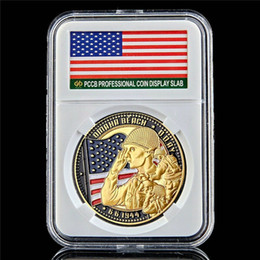 military challenge coins Canada - Military Challenge Coin D-Day Omaha Beach Land Cimetiere 1oz Gold Plated World Souvenir Coin W PCCB Box
