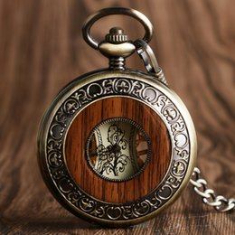 $enCountryForm.capitalKeyWord Australia - Vintage Wood Mechanical Pocket Watch Roman Numerals Creative Carving Flower Dial Wooden Watches Pendant Chain Women Men Gifts