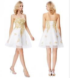 1bfef5368f0364 Grace Karin Short White Cocktail Prom Dresses Sweetheart Gold Appliques  Formal Dresses Cocktail Jurk Tulle Coctail Dresses DH374
