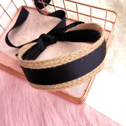 make ribbon hair accessory Australia - Straw Weave Black Ribbon Headband Hand Made Tie Knot Hair Accessories For Girls Hair Bows Hair Band Headbands For Women