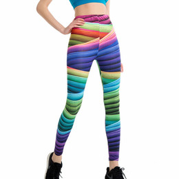 leggings sport push up UK - Gradient Rainbow Print Women Workout Leggings High Waist Stripe Push Up Hips Fitness Yoga Pants Female Sporting Pencil Pants