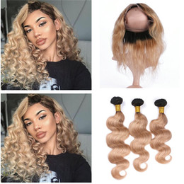 $enCountryForm.capitalKeyWord NZ - Ombre Hair Extensions With 360 Lace Frontal Two Tone 1B 27 Honey Blonde Dark Root Ombre Body Wave Virgin Human Hair Bundles