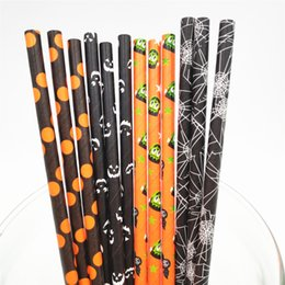 Venta al por mayor de Engañar o pisar! 2000 Piezas 6 * 197mm pajas de Halloween serie 1 de papel biodegradables compostables respetuoso del medio ambiente para la decoración del partido bebidas