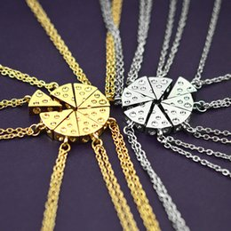 Wholesale 8pcs set Pizza Cheese Pendant Necklaces Gold Silver Friendship Necklace Best Friends Forever Keepsake Birthday Gift
