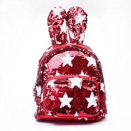 Cute Backpacks For Teenage Girls Australia - Sequins Backpack Cute Rabbit Ears Shoulder Bag for Teenage Girls School Bag Bling Rucksack Shiny Backpacks MMA1365 30pcs