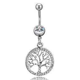 $enCountryForm.capitalKeyWord Australia - Piercing Tree of Life Charm Round Slide Charm Crystal Women For Belly Button Body Women Jewelry