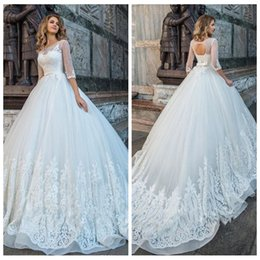 Tie Up Wedding Dress Train Australia - High Quality Ball Gown Wedding Dresses With Half Sleeve Beads Bow Tie Hollow Back Appliques Plus Size Wedding Dress Sweep Train Bridal Gown