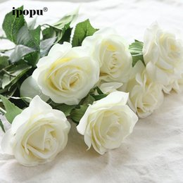 Real Fake Flowers Australia - 8pcs 11pcs Real Touch Latex Artificial Bridal Bouquet Fake Floral Wedding Party Decorative Flowers Q190522