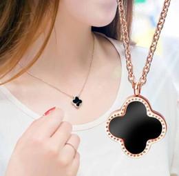 $enCountryForm.capitalKeyWord Australia - Korean Fashion Four-Leaf Necklace 18k Rose Gold Black Flower Hanging Dangle Pendant Choker Clavicle Chain Titanium Steel Chic Jewelry