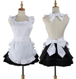 White Shorts Australia - Women Kitchen Apron Plain White Cotton Ruffle Waitress Cosplay Avental de Cozinha Divertido Tablier Cuisine Pinafore Short Apron