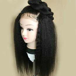 Free Women Human Hair Afro Australia - Full Lace Human Hair Wigs Virgin Peruvian Hair Kinky Straight Afro Lace Wigs For Black Women Baby Hair Free Shipping