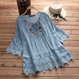 $enCountryForm.capitalKeyWord Australia - 2019 Summer Lace Crochet Blouse Women Casual Patchwork Lace Up Shirts Chemise Hollow Blusas Tunic Tops Stylish Tee Plus Size Y19070101