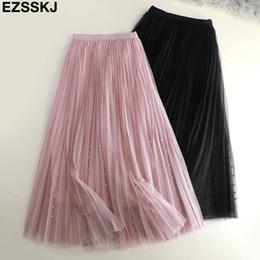 $enCountryForm.capitalKeyWord Australia - 2019 Spring Summer Veil Skirt Women Fold Tutu Rock Sicken A -line Mesh Midi Rock Female Three -layer Long Elegant Rock Y19071601