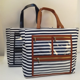 $enCountryForm.capitalKeyWord Australia - Canvas Striped PVC Display Bag Wholesale Blanks Carry All Essential Oil Purse Lipstick Tote with Clear Pockets Fashion bags