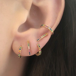 Small Hoop Earring Wholesale Australia - 2019 Rainbow mix colored cz Earring gold filled 925 Sterling Silver huggie hoops girls minimal tiny small cute gorgeous Earring