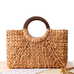 $enCountryForm.capitalKeyWord Australia - Wooden Ring Portable Women Straw Handbag Corn Skin RETRO Art Beach Bags Travel Pictures Props Straw Bag Moon Bag