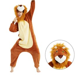 lion cartoons Canada - Hot sale cartoon animal pajamas new lion flannel men's and women's onesie