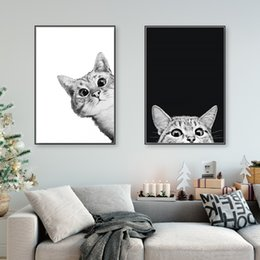 $enCountryForm.capitalKeyWord Australia - Canvas Prints Painting Nordic Style Lovely Black White Cats Posters Wall Art Animals Modular Pictures For Living Room Home Decor