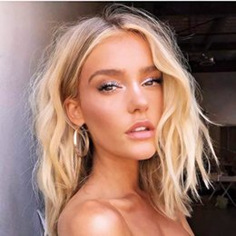 Discount ash blonde hair - Charming Blonde Wig Short Wavy Synthetic Lace Front Wigs for Women Dark Root Ombre Ash Blonde Natural Hair Replacement B