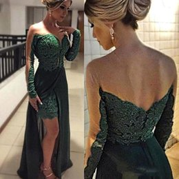 $enCountryForm.capitalKeyWord NZ - Dark Green Evening Dresses Sexy Sheer Crew Neck Long Sleeve Lace Applique A Line Evening Gowns Applique Lace Side Split Prom Dress