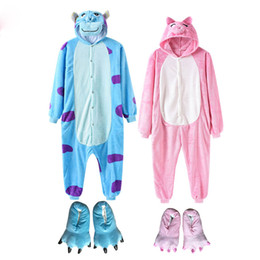 slippers bear NZ - 2019 New Animal Onesie With Slippers Women Men Pajama Overall Cartoon Anime Bear One Piece Flannel Kigurumi Funny Suit