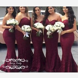 Mermaid Wedding Dresses Prices Australia - Burgundy Lace Sweetheart Mermaid Long Bridesmaid Dresses 2019 Wholesale Price Maid of Honor Wedding Guest Dress Party Gown