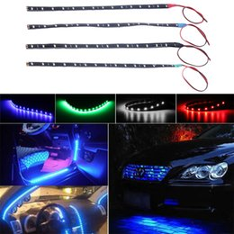 Discount color changing car lights - New 1 pc Car Interior Led Strip Sticker Daytime Running Lights Waterproof Flexible Car Light 4 Color