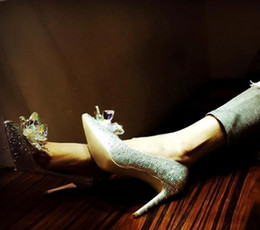 Small Shoes Size 33 Australia - 2019 New Fashion women Top Grade Cinderella Crystal Shoes Bridal Rhinestone Wedding Shoes With Flower Genuine Leather Big Small Size 33 to40