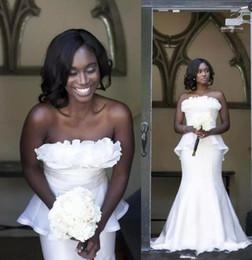 $enCountryForm.capitalKeyWord Australia - 2019 African Black Grls Plus Size Mermaid Wedding Dresses Bridal Gowns with Peplum Abendkleider robe de mariée Custom