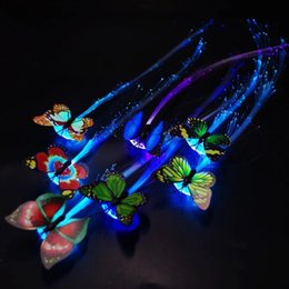 Vente en gros 2019 Nouveauté LED Clignotant Papillon Tresse De Cheveux Rougeoyant Barrettes Pince À Cheveux Épingle À Cheveux Femmes Filles Cheveux Accessoires