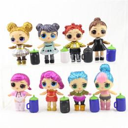 Children eduCational online shopping - 8pcs Cute LOL Doll Baby Glitter Hair Model Children Girl Birthday Gift Anime Action Figures Educational Toys